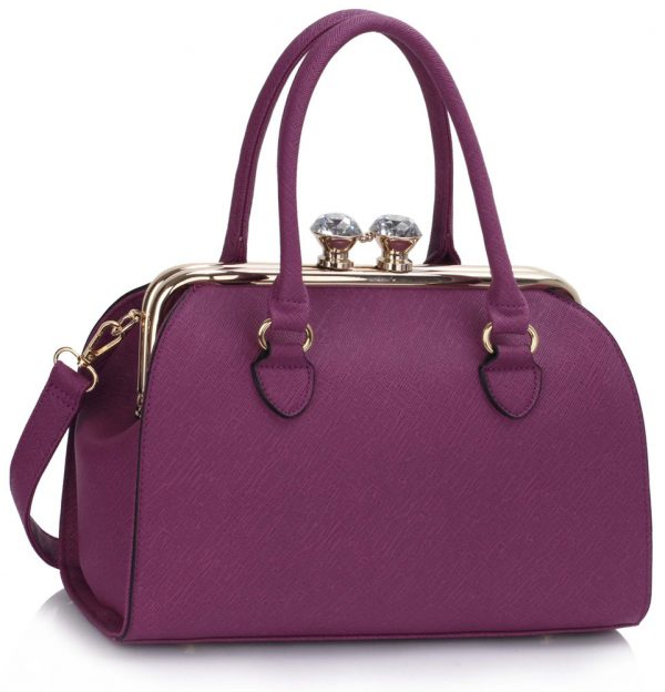 LS00378A - Purple Metal Frame Satchel