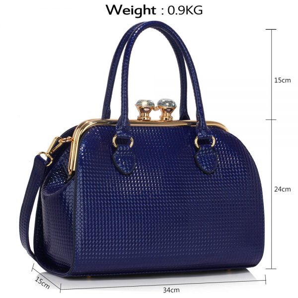 LS00378B - Navy Metal Frame Satchel