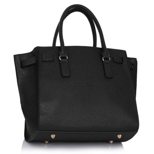 LS00396 - Black / Nude Padlock Tote With Long Strap