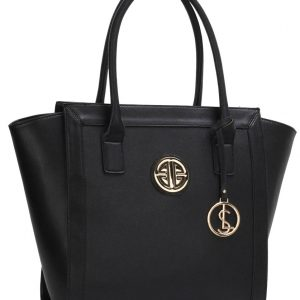 LS00417 - Black Tote Bag With Metal Accessories