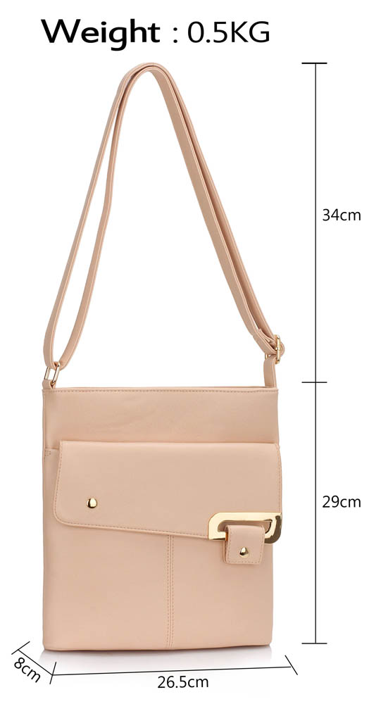 LS00429 - Nude Shoulder Cross Body Bag