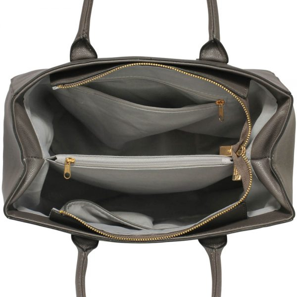 LS00447 - Grey Tote Handbag Features Buckle Belts