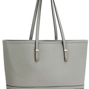 LS00460 - Grey Zip Detail Large Tote Bag