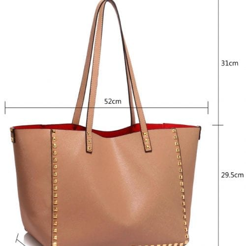LS00477 - Nude Studded Shoulder Handbag