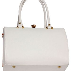 LS00510 - White Structured Metal Frame Top Handbag
