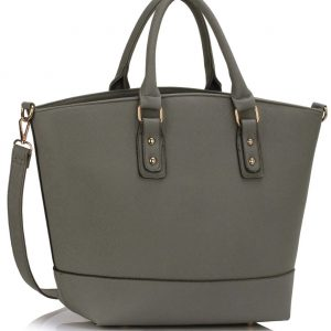 LS0085 - Grey Fashion Tote With Long Strap