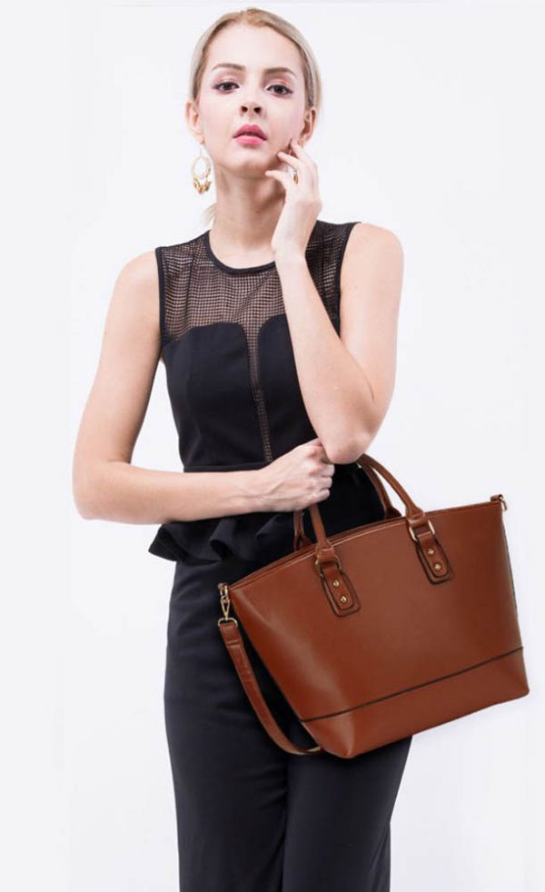 LS0085B- Brown Fashion Tote With Long Strap