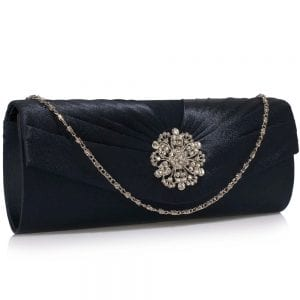 LSE00104 - Navy Crystal Flower Satin Clutch