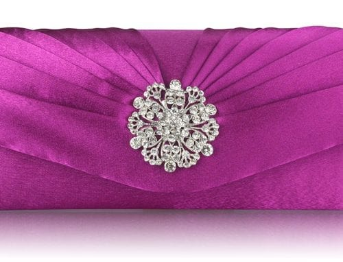 LSE00104 - Purple Crystal Flower Satin Clutch