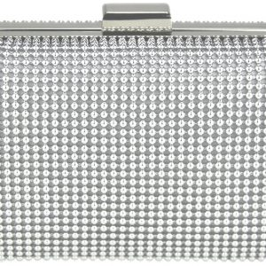 LSE00108 - Silver Hard Case Evening Clutch