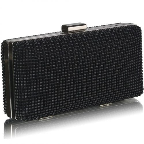 LSE00108 - Black Hard Case Evening Clutch