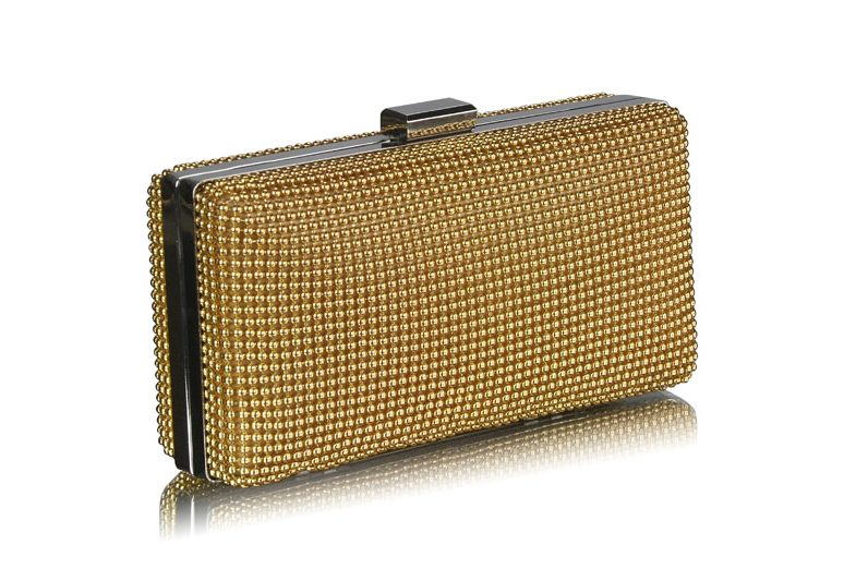 LSE00108 - Gold Hard Case Evening Clutch