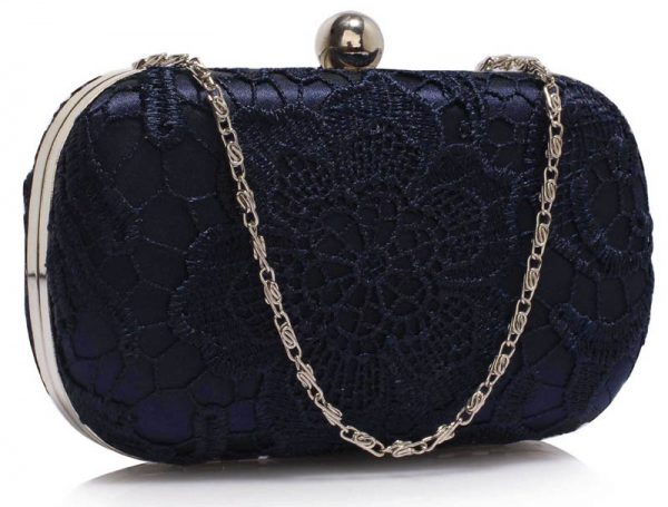 LSE00110 - Classy Navy Ladies Lace Evening Clutch Bag