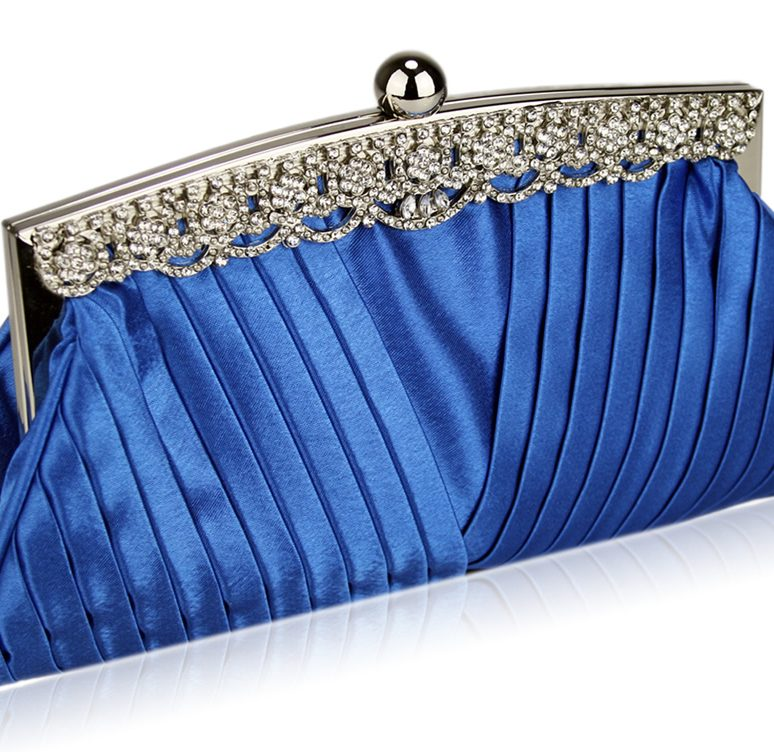 LSE00111 - Royal Blue Ruched Satin Clutch With Crystal Decoration