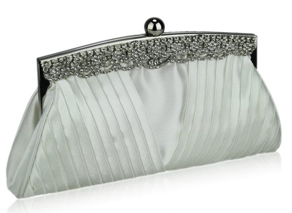 LSE00111 - Ivory Ruched Satin Clutch With Crystal Decoration