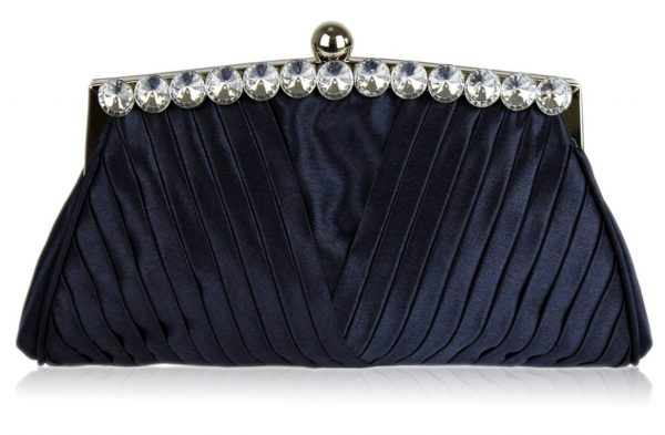 LSE00127 - Navy Ruched Satin Clutch With Crystal Decoration