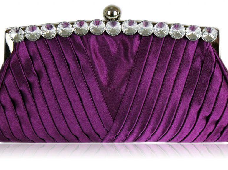 LSE00127 - Purple Ruched Satin Clutch With Crystal Decoration