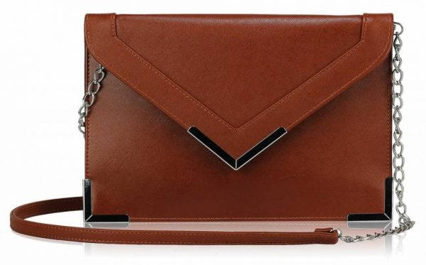 LSE00179 - Brown Flapover Clutch purse