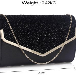 LSE00264 -  Black  Large Diamante Flap Clutch purse