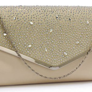 LSE00264 -  Nude Large Diamante Flap Clutch purse