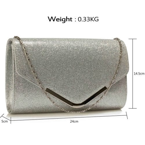 LSE00266 -  Silver Large Flap Clutch purse