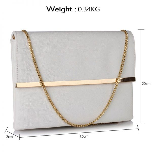 LSE00279 -  White Large Flap Clutch purse