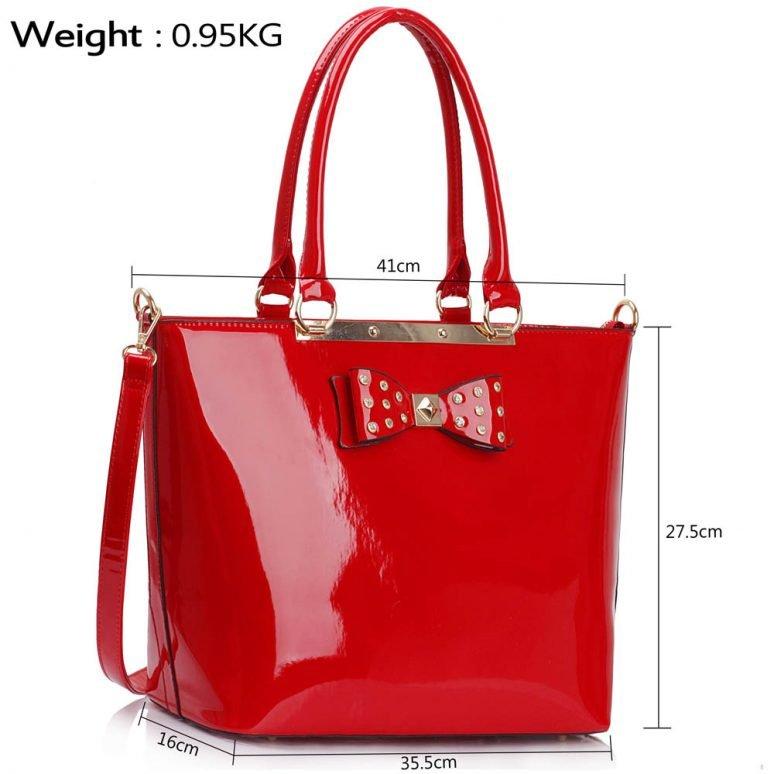 LS00326A - Red Patent Bow Tote Handbag