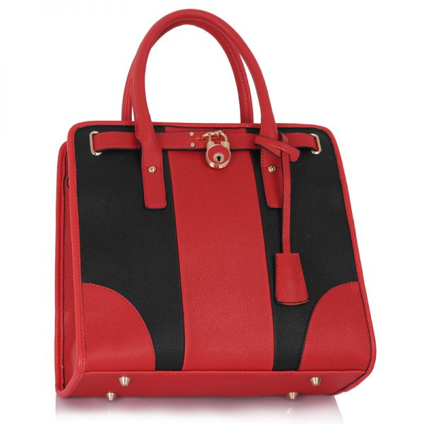 LS00336 - Black / Red Colour Block Tote Handbag