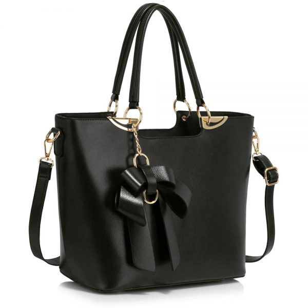 LS00348A - Black Bow-Tie Shoulder Handbag