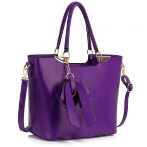 LS00348A - Purple Bow-Tie Shoulder Handbag
