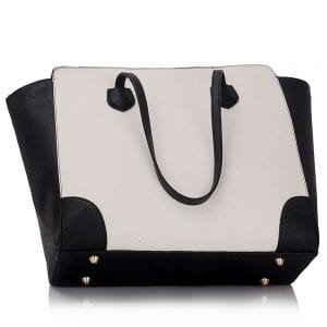 LS00351 - Black / White Women's Large Tote Bag