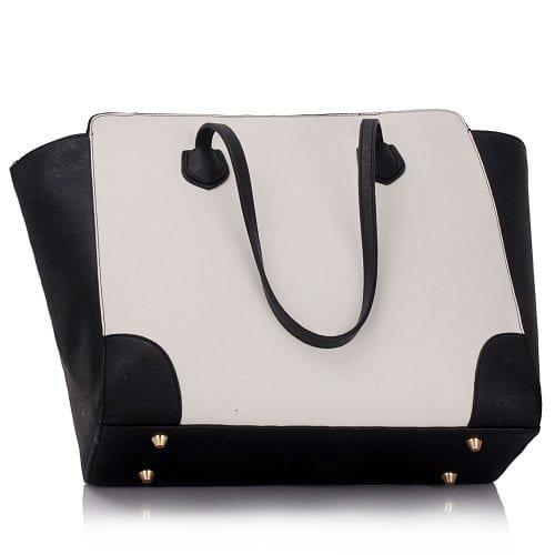 LS00351 - Black / White Women's Large Tote Bag