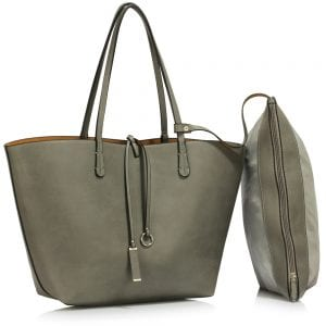 LS00393 - Reversible Grey / Nude Large Tote Bag - Fits laptops up to 15.4''