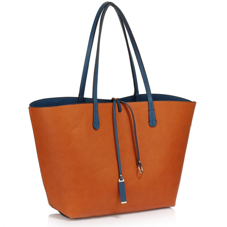 LS00393 - Reversible Navy/Brown Large Tote Bag - Fits laptops up to 15.4''