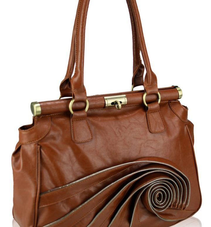 LS0042 - Brown Floral Tote Shoulder Bag With Ruffled Zipper Accents