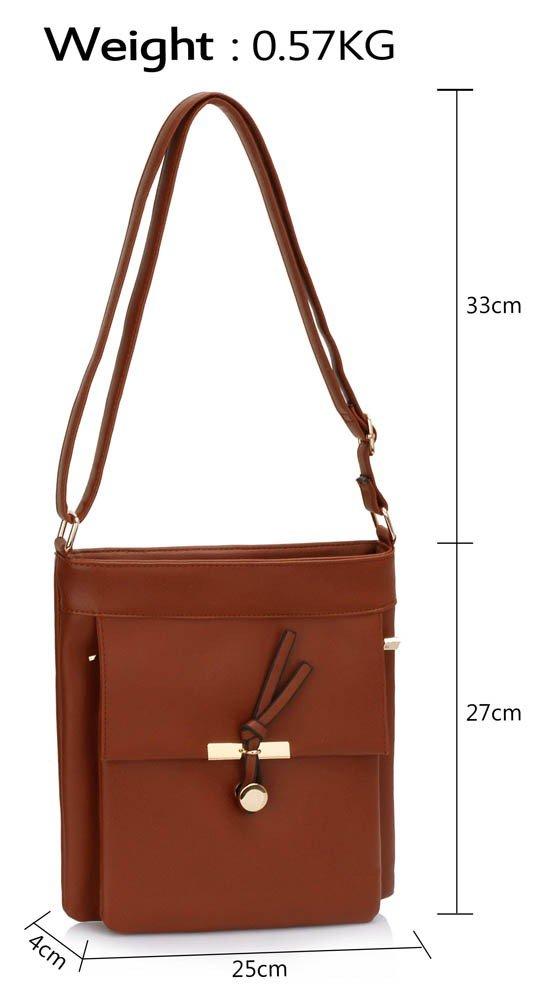 LS00433 - Brown Shoulder Cross Body Bag
