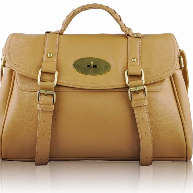 LS0044 - Beige Buckle Detail Fashion Satchel
