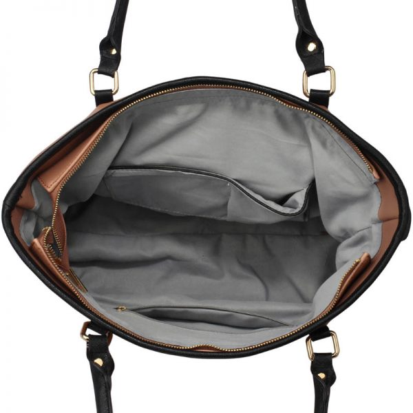 LS00507 - Black / Nude Decorative Bow Tie Tote Shoulder Bag