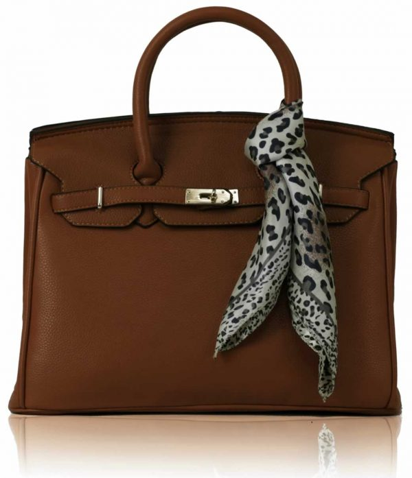 LS0065  - Luxury Brown Tote Bag With Scarf