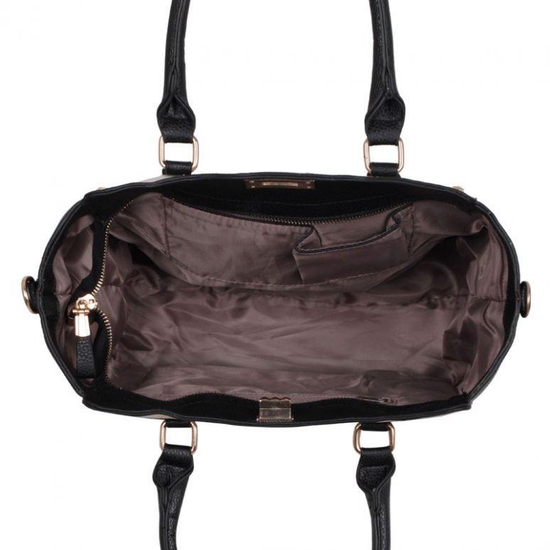 LS0092B - Black Double- Handle Shoulder Tote Bag