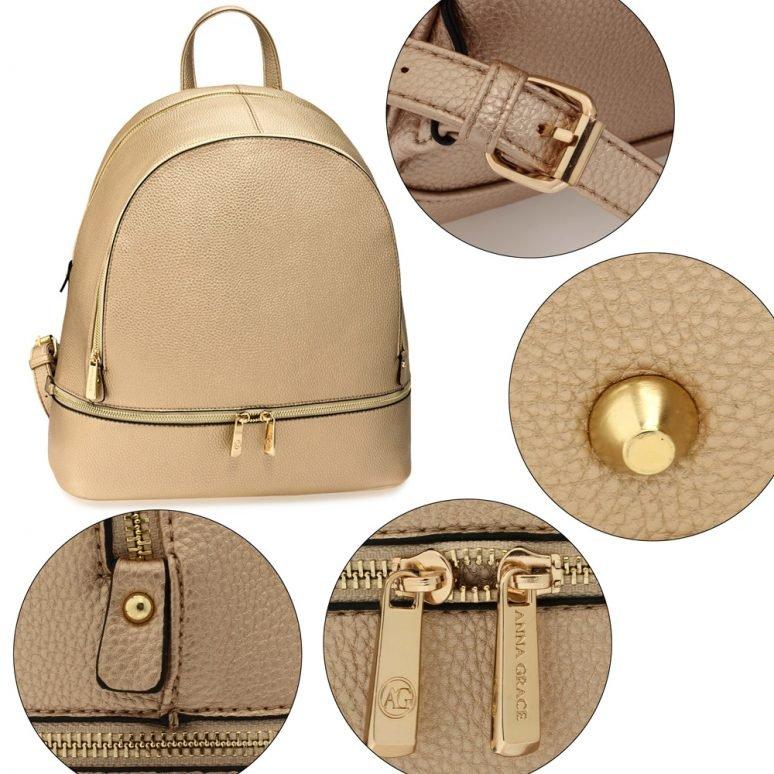 LS00171 - Gold Backpack Rucksack School Bag