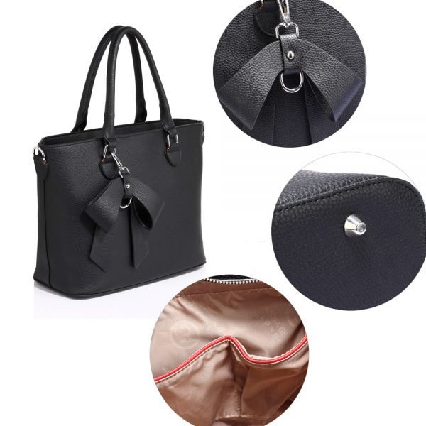 AG00531 - Black Tote Bag With Bow Charm