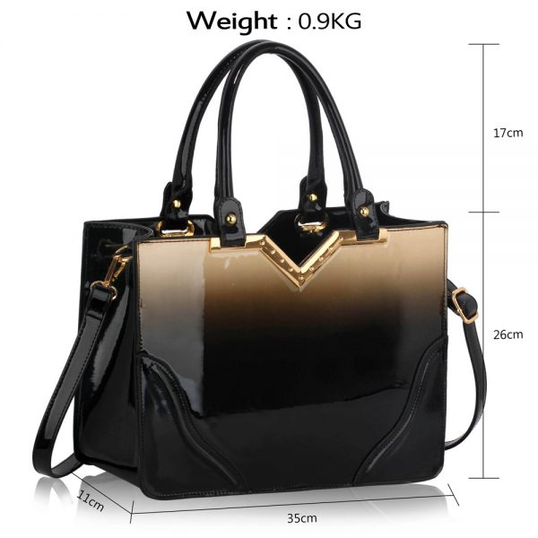 LS00134 - Nude Patent Two-Tone V Cut Tote