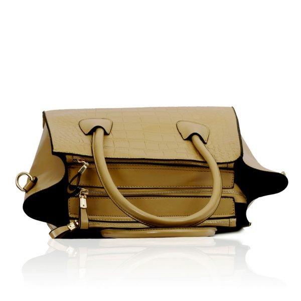 LS00208 - Three Top Zipper Nude Croc Tote Handbag