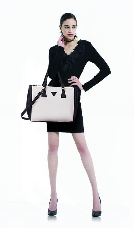 LS00260  - Black /White Grab Tote Handbag
