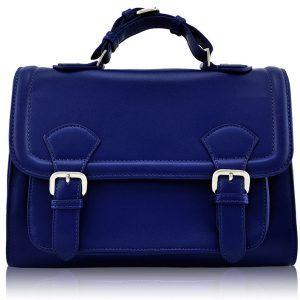 LS00274 - Classic Navy Buckle Detail Fashion Satchel