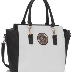 LS00353  - Black / White Tote Handbag