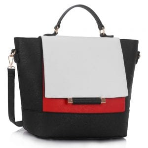 LS00355 - Black / White / Red Flap Detail Tote Bag