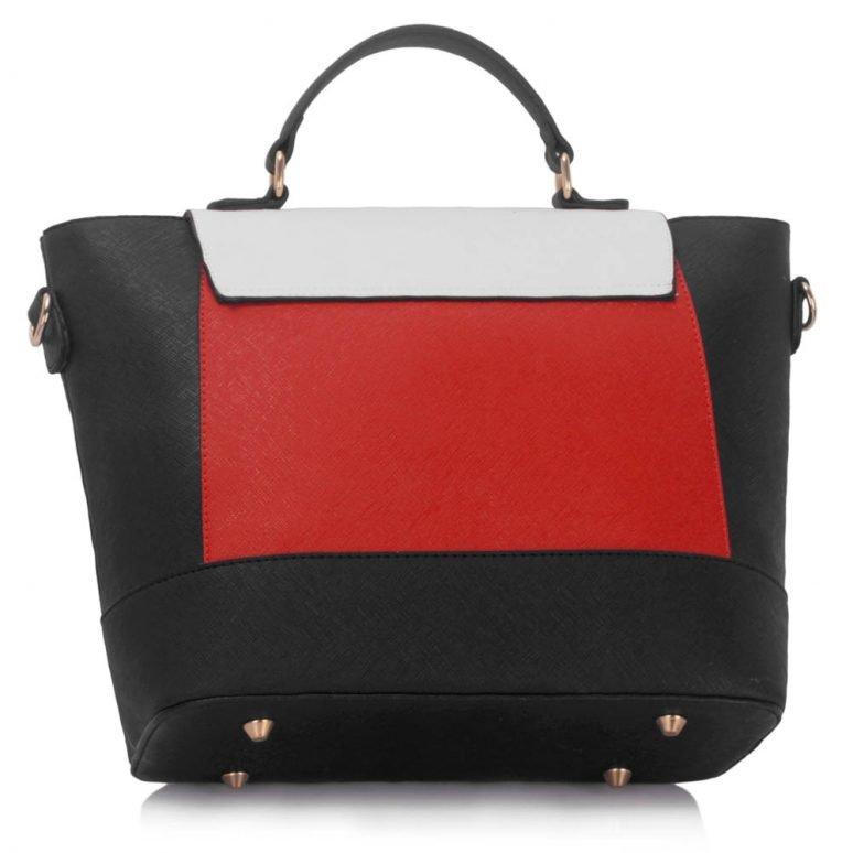 LS00355 - Black / White / Red Flap Detail Tote Bag