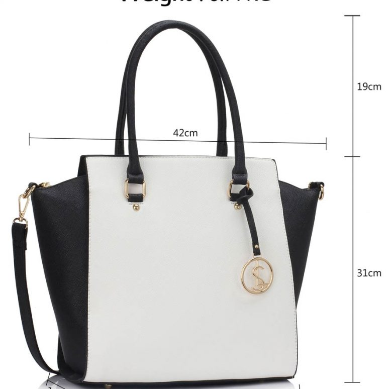 LS00364A - Black / White Tote Bag With Metal Accessories